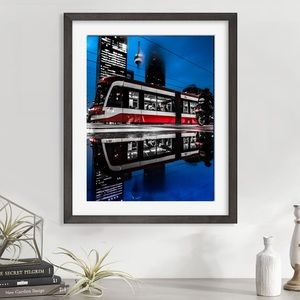 New original art red train Toronto TTC streetcar